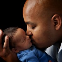 African American Daddy with Biracial Newborn Baby Son